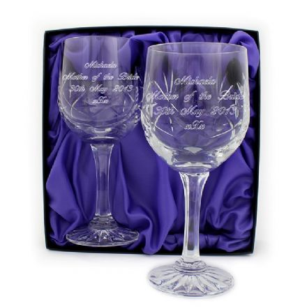 Personalised Pair of Lead Crystal Wine Glasses
